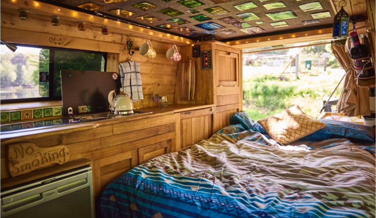 An interior of one of the many quirky campers available