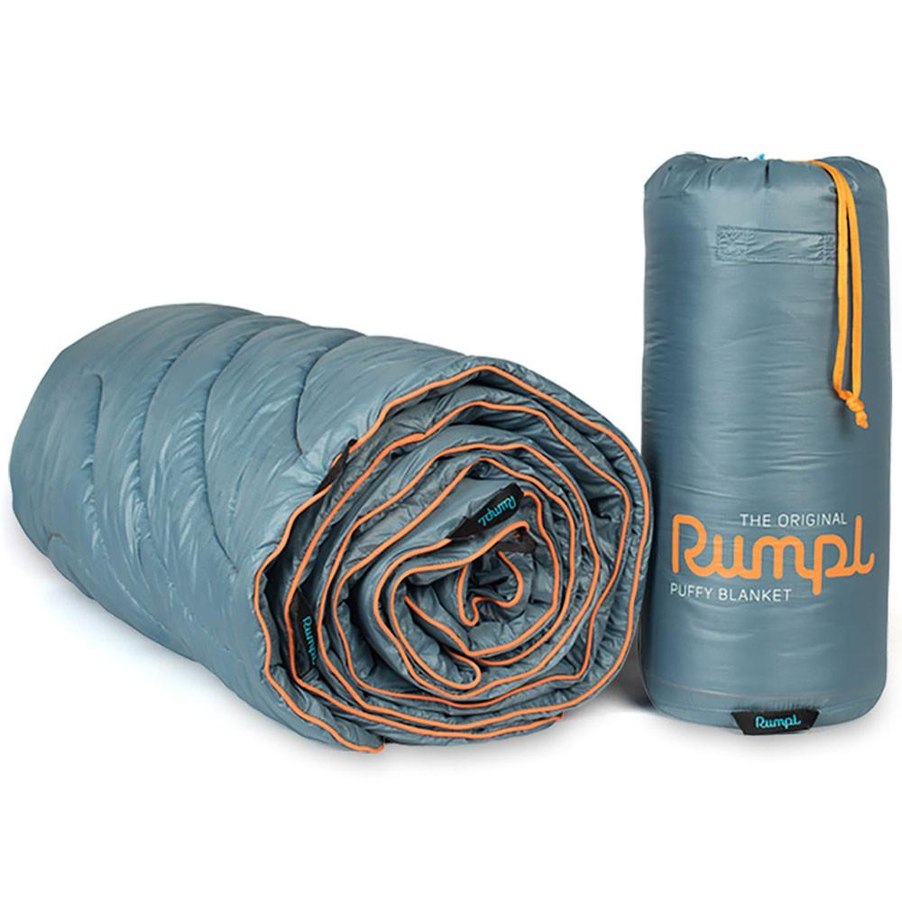 RUMPL ORIGINAL PUFFY BLANKET 2 PERSON - SLATE GREY/ORANGE