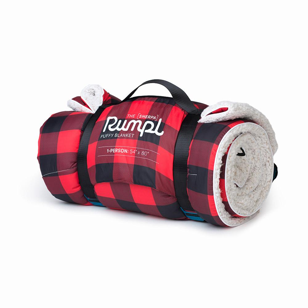 RUMPL SHERPA PUFFY BLANKET 1 PERSON - RED BUFFALO PLAID