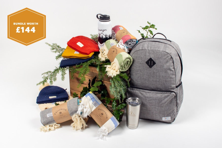 Cascade water bottle, Joe Mug, Beanie, Turkish Towel & Mule Backpack (Grey) Offer Black Friday
