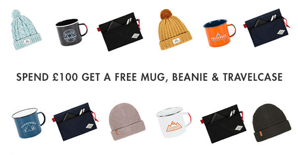 FREE TIN CAMPING MUG, BEANIE & TRAVEL CASE WITH ANY £100+ ORDER