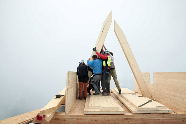 >Friends and family building the Cabin Perched High on a Mountain in Italy