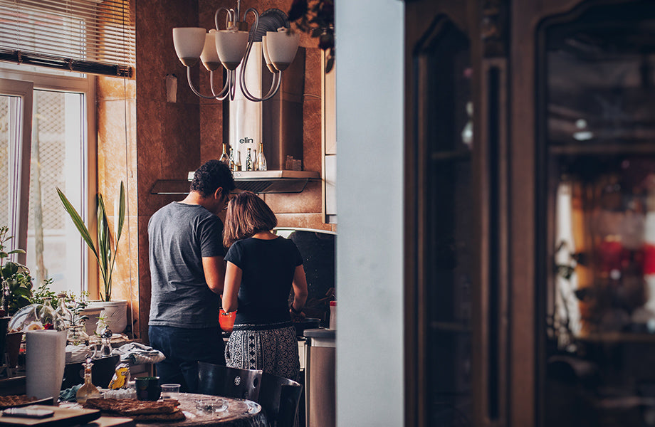 Preparing food together as a family