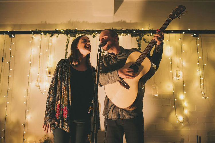 Sophie and Mike McCarthy singing at one of their gigs