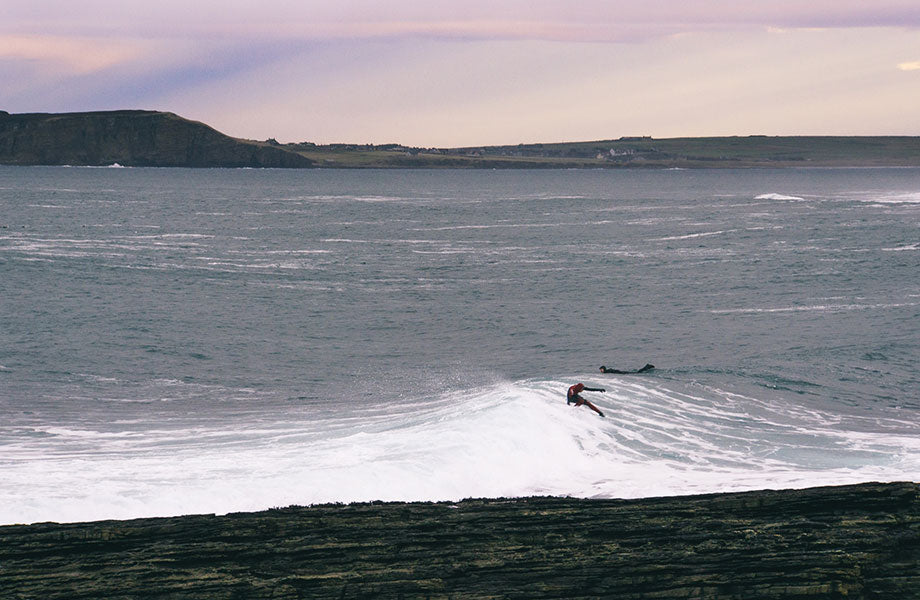 Barry Mottershead surfing in Scotland