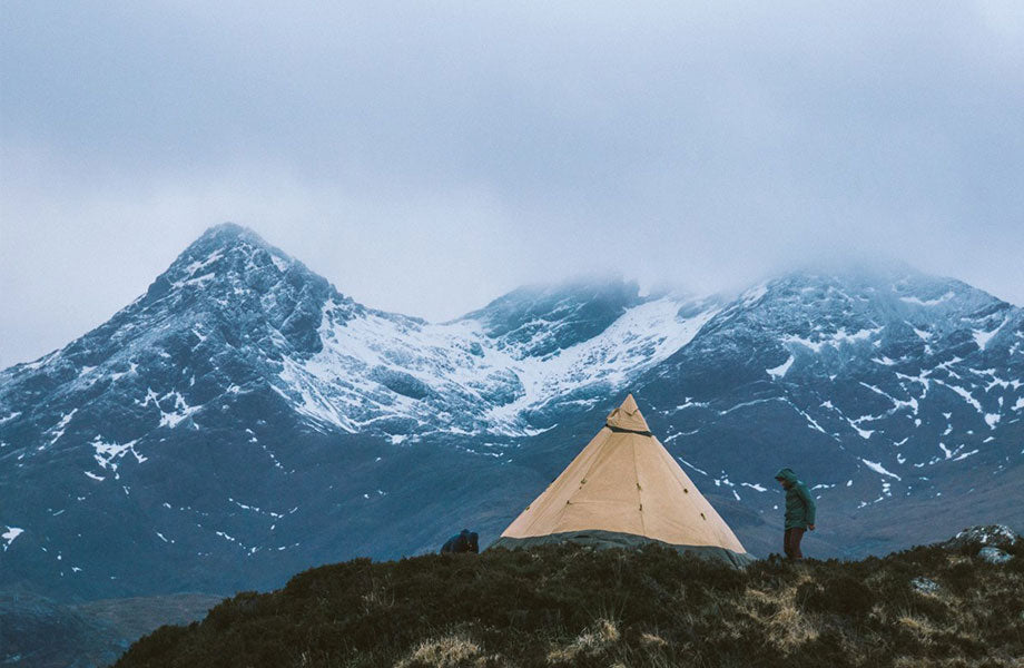 Tipi set up near the mountains