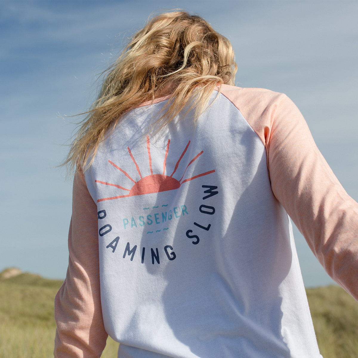Roaming Slow L/S T-Shirt - Lobster Pink Marl And White image 1