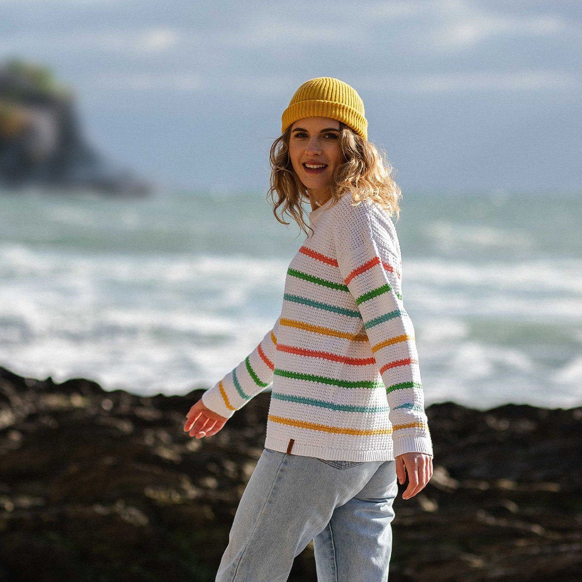 Lakewood Knitted Sweater - White Stripe image 6