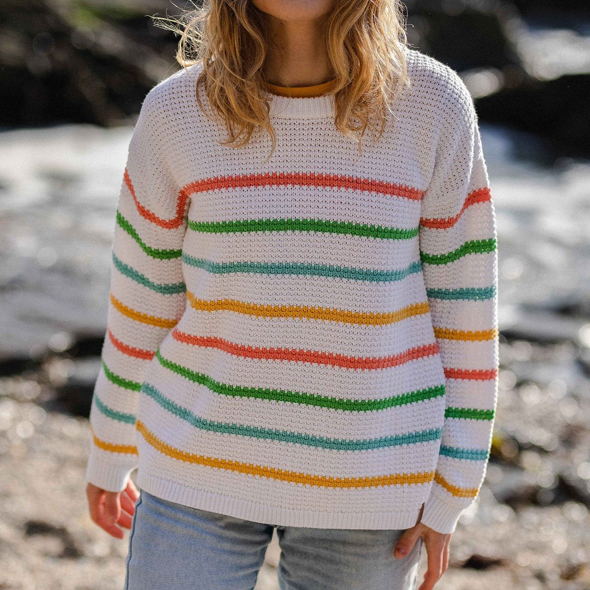 Lakewood Knitted Sweater - White Stripe image 2