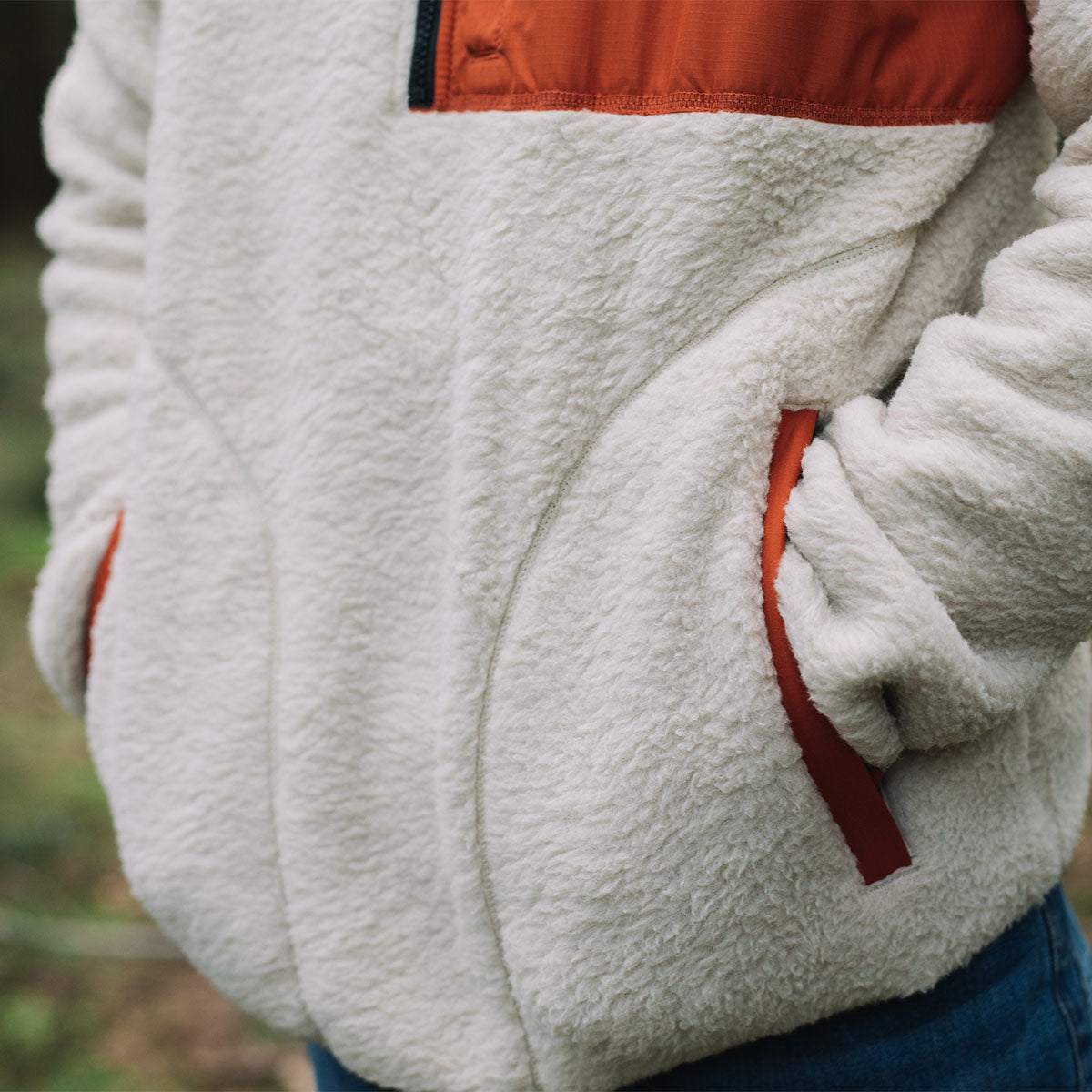 Offgrid 1/4 Zip Sherpa Fleece - Oatmeal/Rust image 5