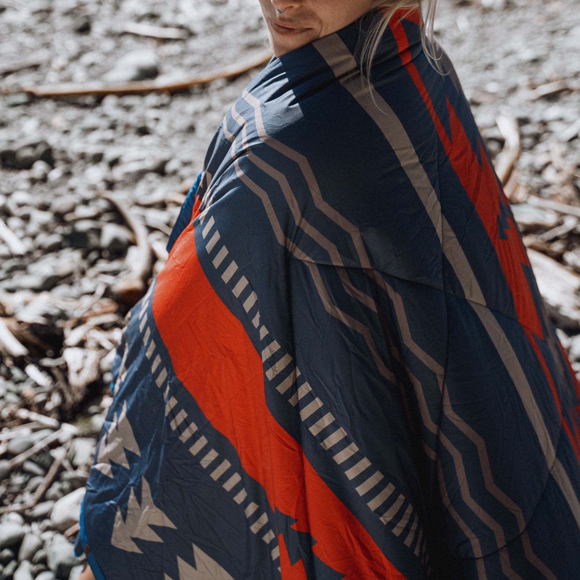 Nomadic 2 Person Sherpa Blanket - Navy & Red image 3