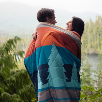 Nomadic 2 Person Sherpa  Blanket - Turquoise/ Rust