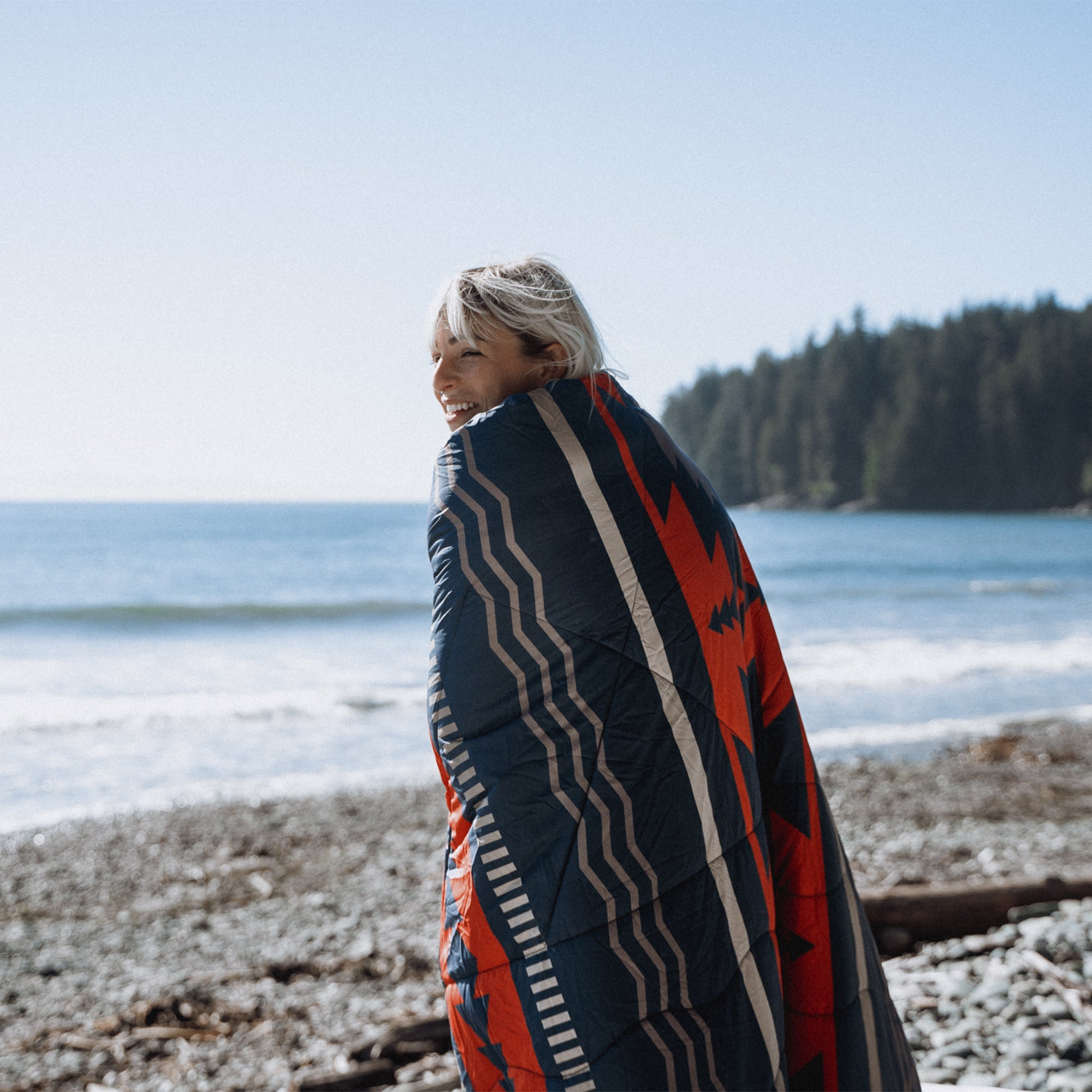 Nomadic 2 Person Sherpa Blanket - Navy & Red image 4