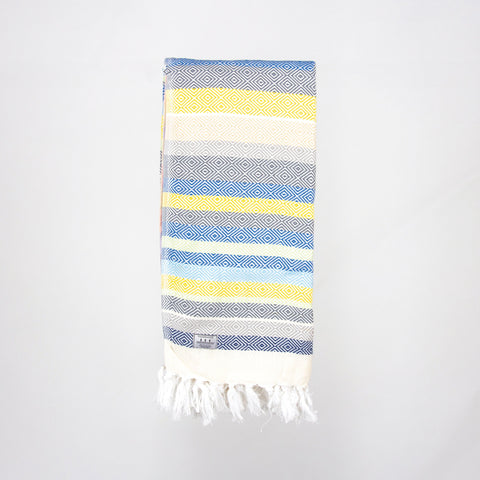 Bayou Turkish Towel - Blue/Yellow/Brown