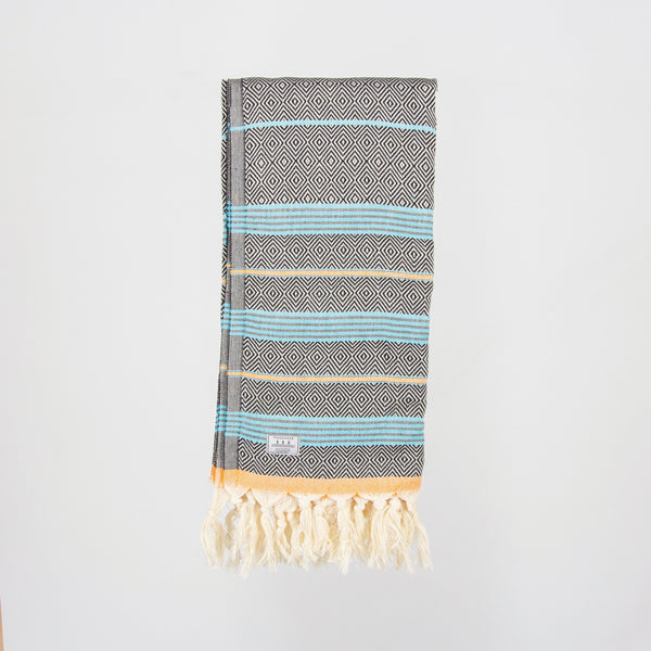 Satori Turkish Towel - Black/Turquoise/Orange