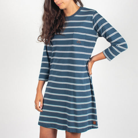 CELESTE DRESS - DARK DENIM STRIPE