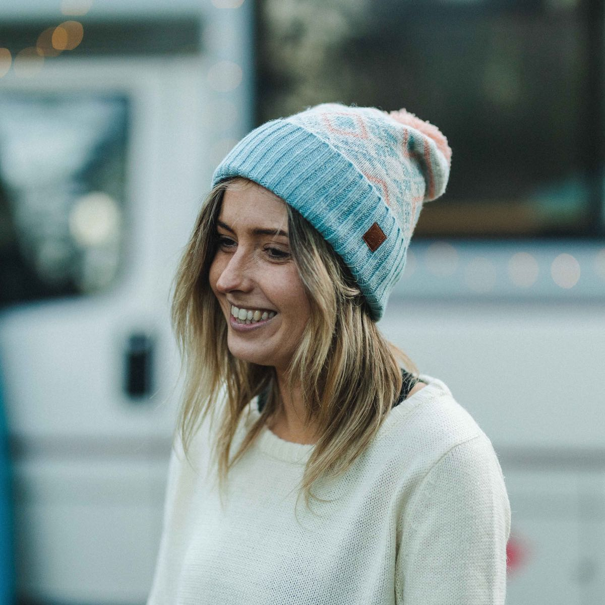 Fenna Bobble Hat - Pink, Blue, Light Grey image 1