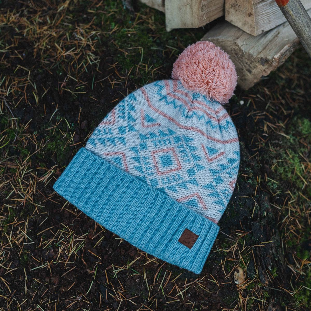 Fenna Bobble Hat - Pink, Blue, Light Grey image 2