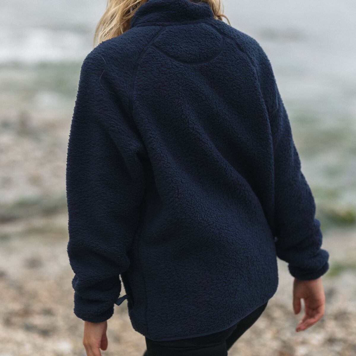 Home 1/4 Zip Sherpa Fleece - Navy image 3