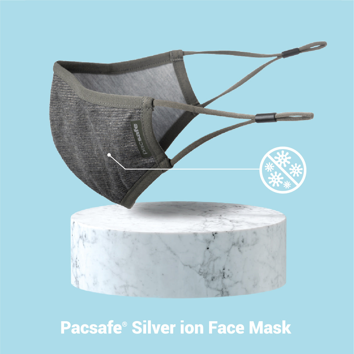 Pacsafe Silver Ion Face Mask - Silver Gray image 2