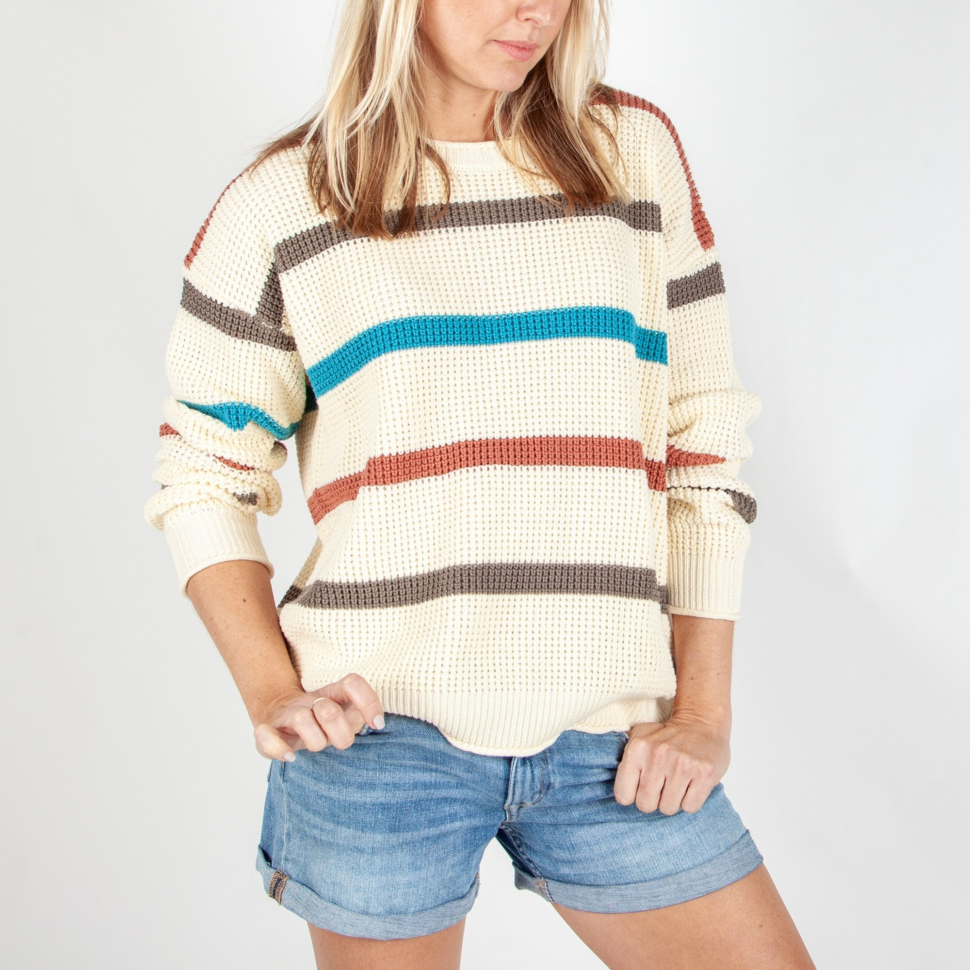 Lakewood Knitted Sweater - Cream Stripe image 2