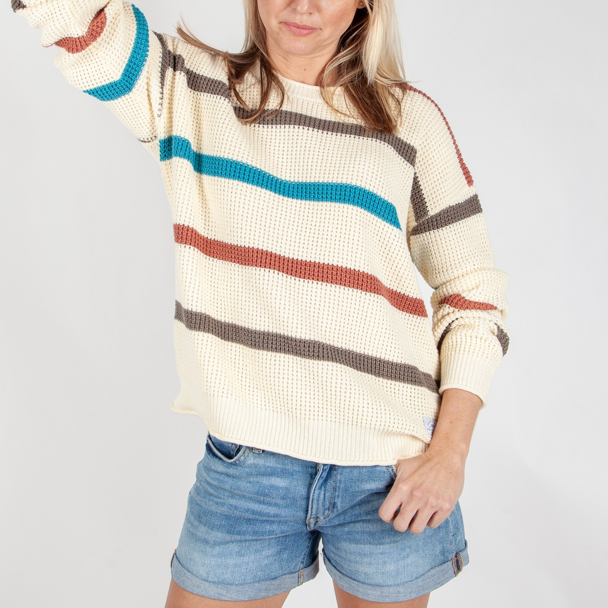 Lakewood Knitted Sweater - Cream Stripe image 3