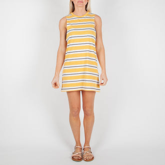 SOUTH COAST DRESS - GOLDEN YELLOW STRIPE