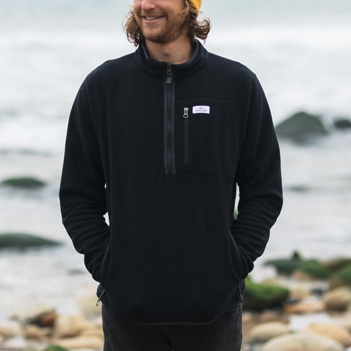 Jasper 1/4 Zip Polar Fleece - Black image 2