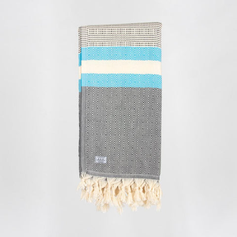 Lily Turkish Towel - Grey/Turquoise