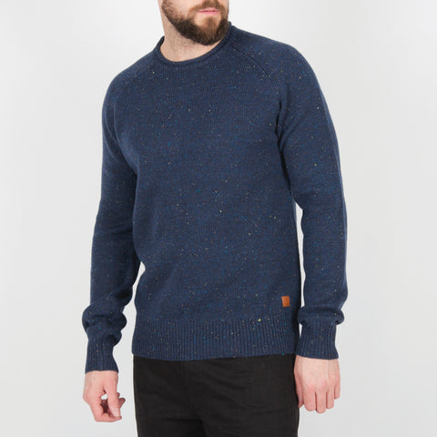 Hoddevik Knitted Sweater - Navy Fleck