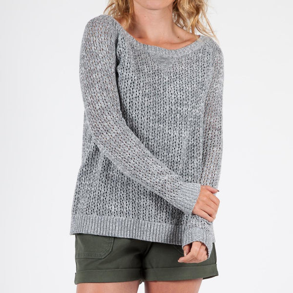 Women's Route Knitted Sweater - Grey Marl