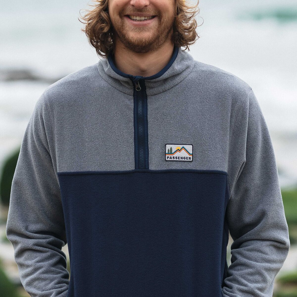 Set Off 1/4 Zip Polar Fleece  - Navy, Grey Marl image 3