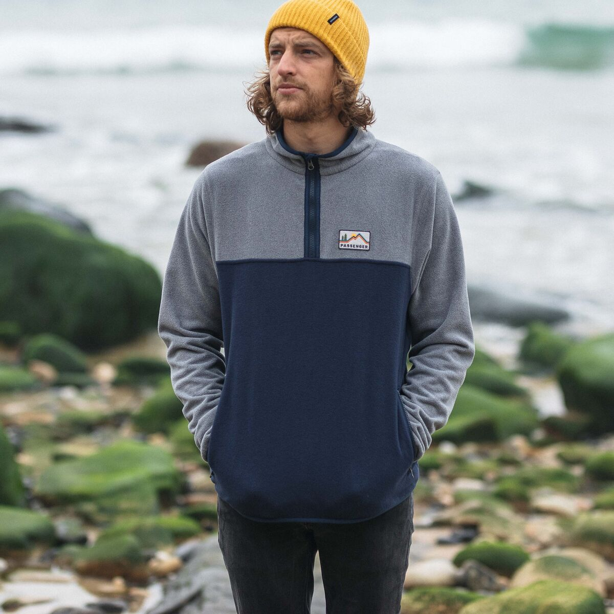 Set Off 1/4 Zip Polar Fleece  - Navy, Grey Marl image 1