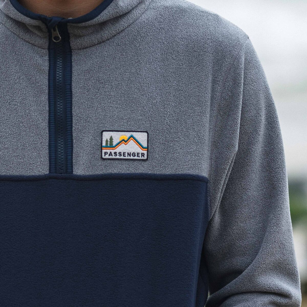 Set Off 1/4 Zip Polar Fleece  - Navy, Grey Marl image 2