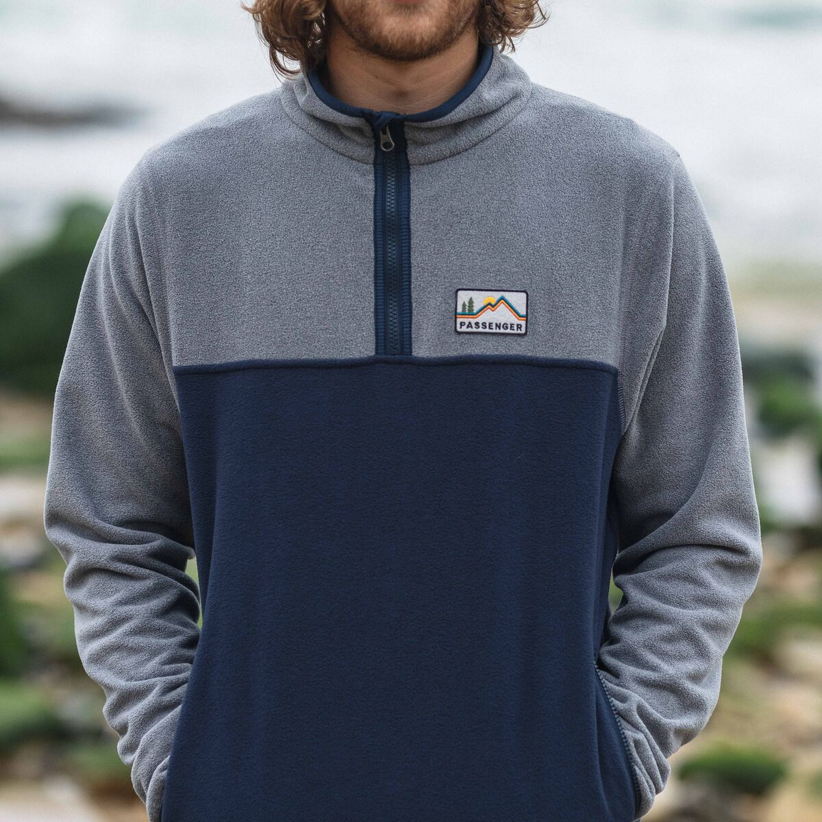Set Off 1/4 Zip Polar Fleece  - Navy, Grey Marl image 4