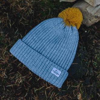 Sled Bobble Hat - Grey, Mustard Yellow Bobble