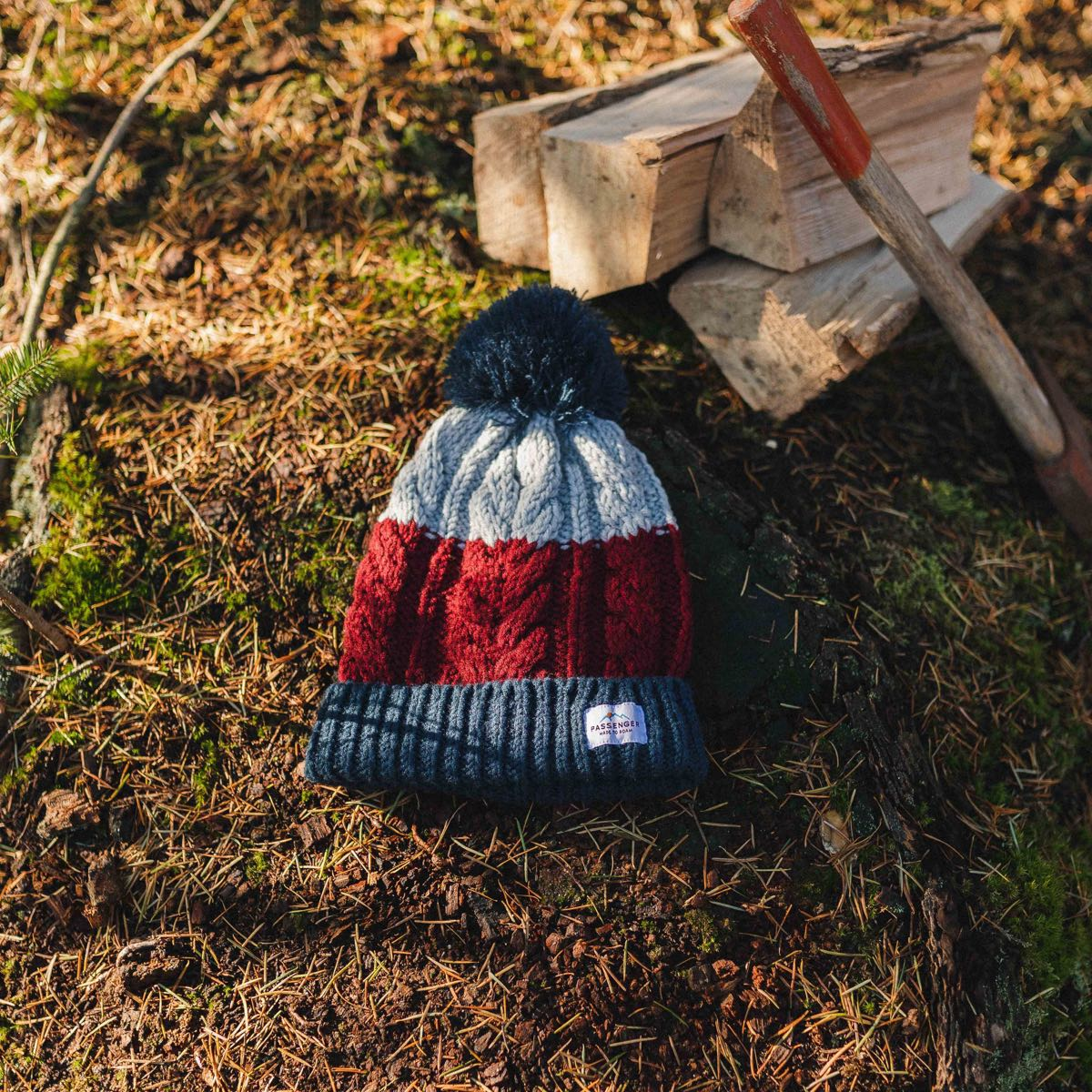 Stoke Bobble Hat - Navy, Light Grey, Burgundy image 2