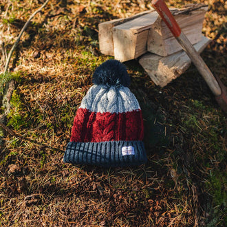 Stoke Bobble Hat - Navy, Light Grey, Burgundy