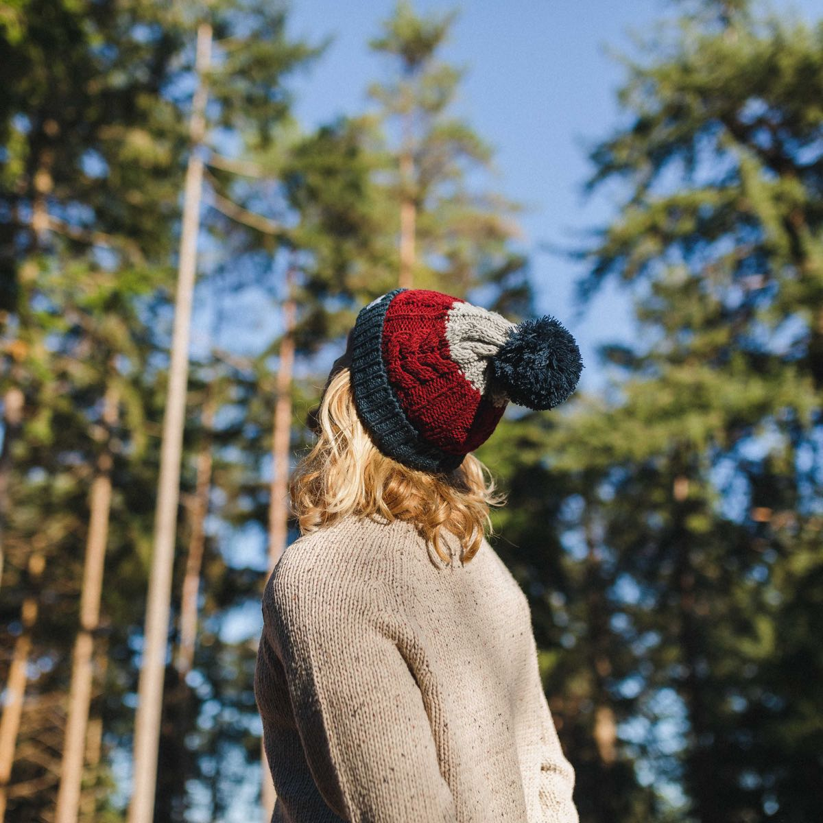 Stoke Bobble Hat - Navy, Light Grey, Burgundy image 1