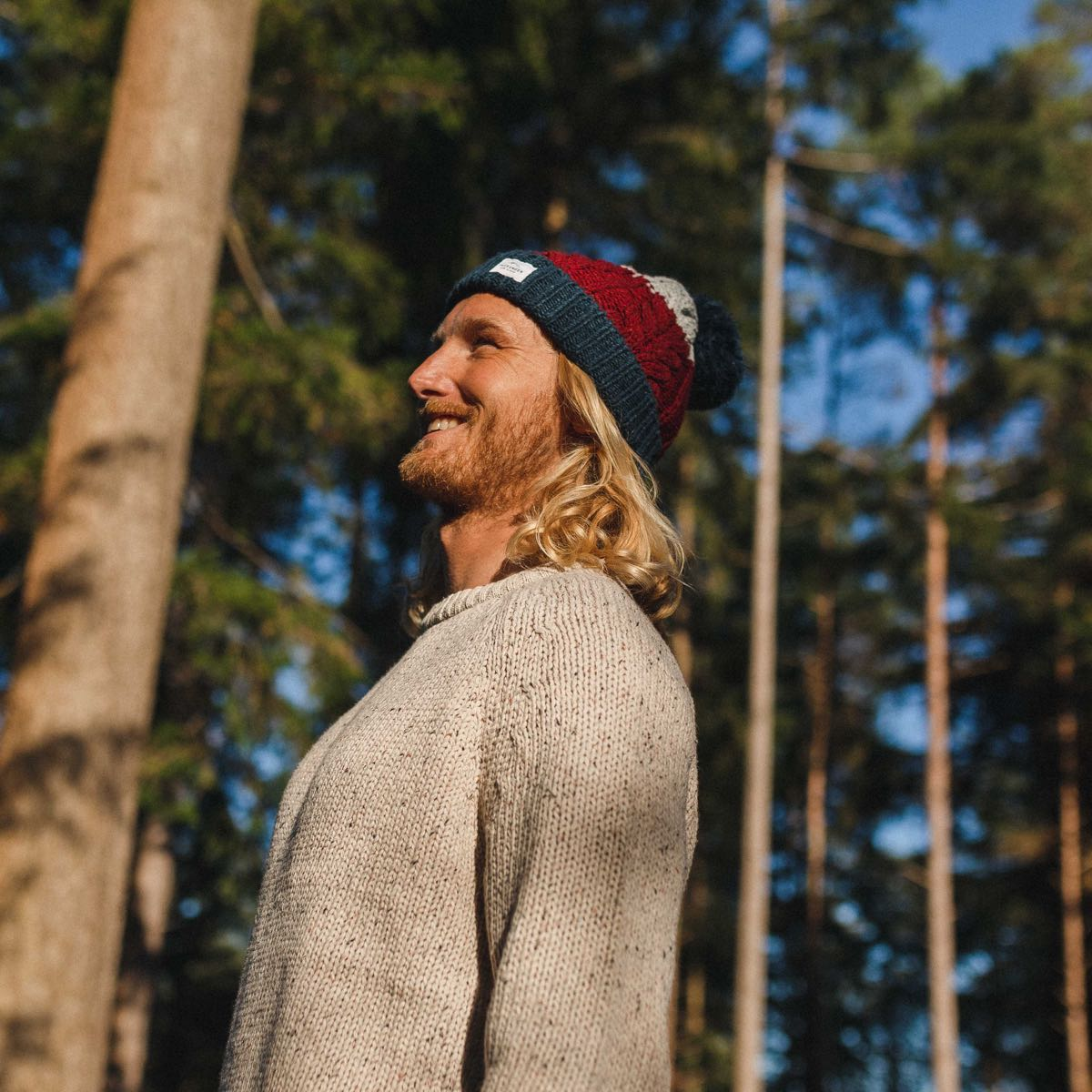 Stoke Bobble Hat - Navy, Light Grey, Burgundy image 3