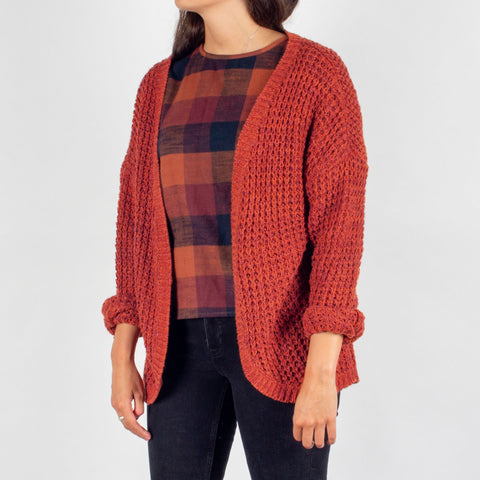 Stove Knitted Cardigan - Rust