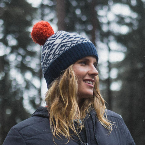 Karlek Bobble Beanie - Navy/Grey/Orange