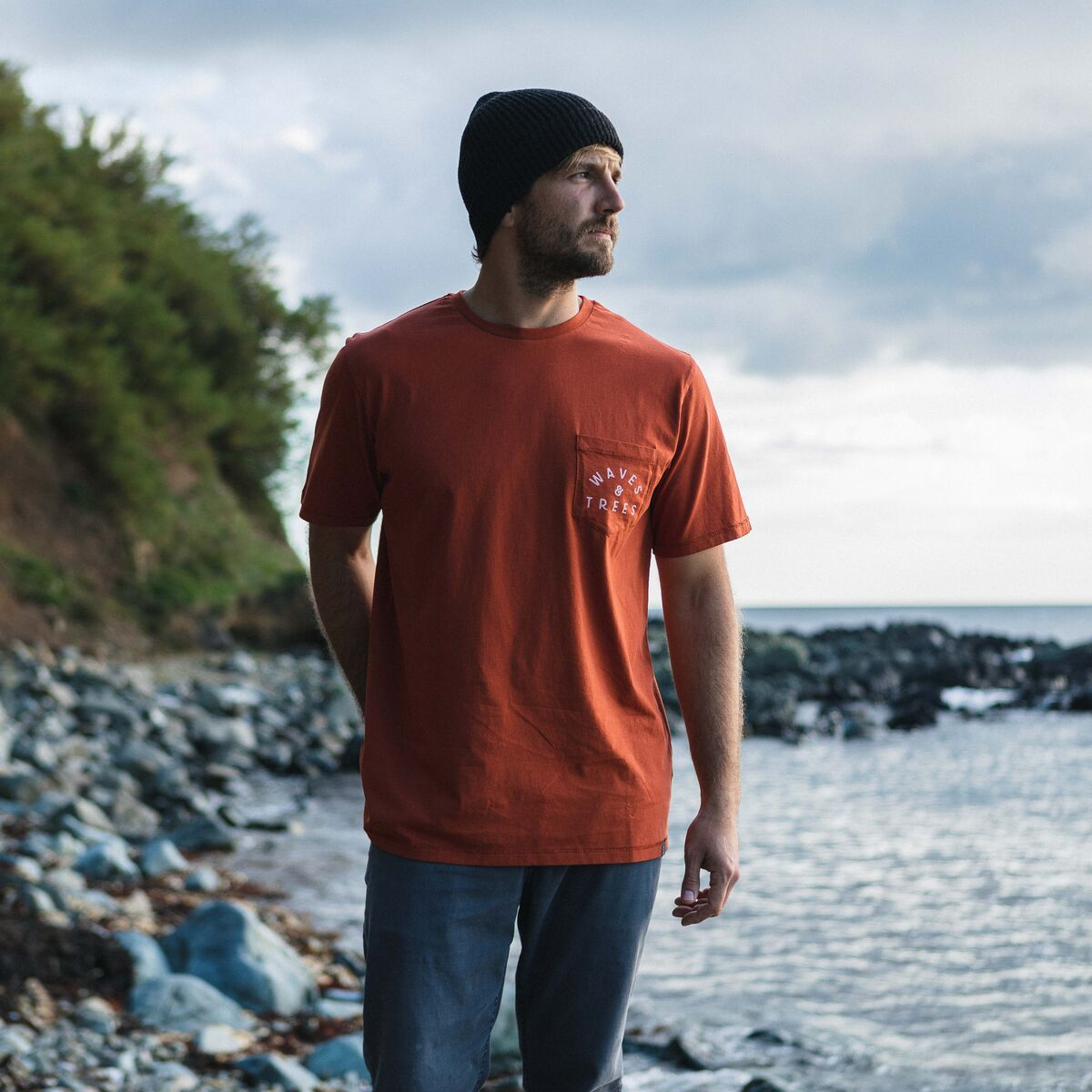Waves & Trees Pocket T-Shirt - Rooibos Orange image 1