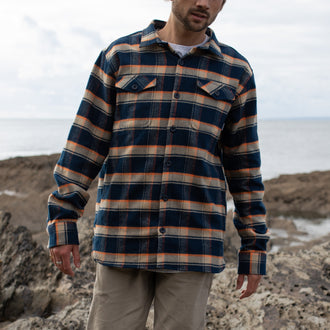 Merchant Shirt - Navy/Orange/Off white