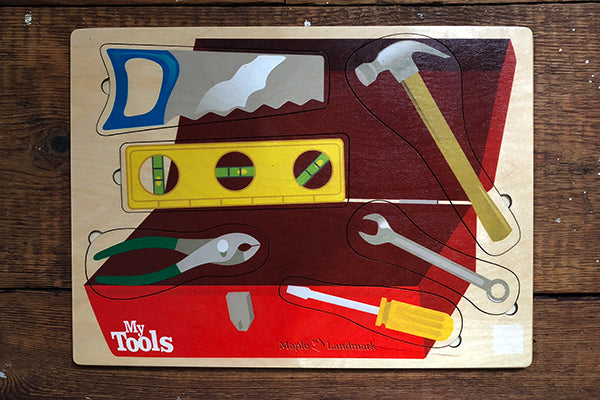 Sustainably Harvested Wood My Tools Lift and Learn Puzzle by Maple Landmark Made in Vermont USA