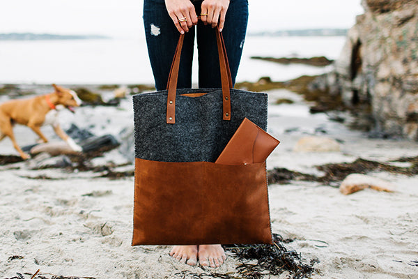 New Arrivals at The Good Supply in Pemaquid Maine Leather and Felt Tote by Mulxiply