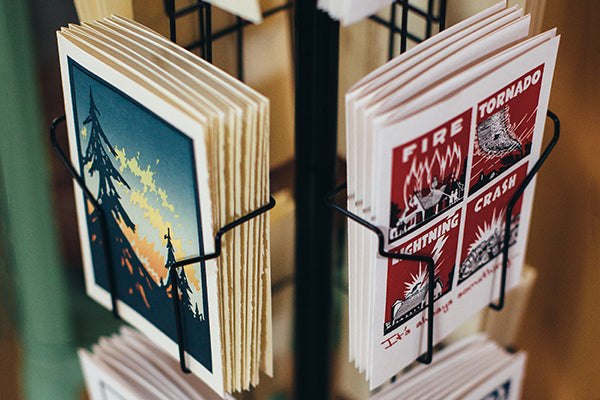 Letterpress Greeting Cards by Saturn Press are made in Maine, USA, on recycled paper