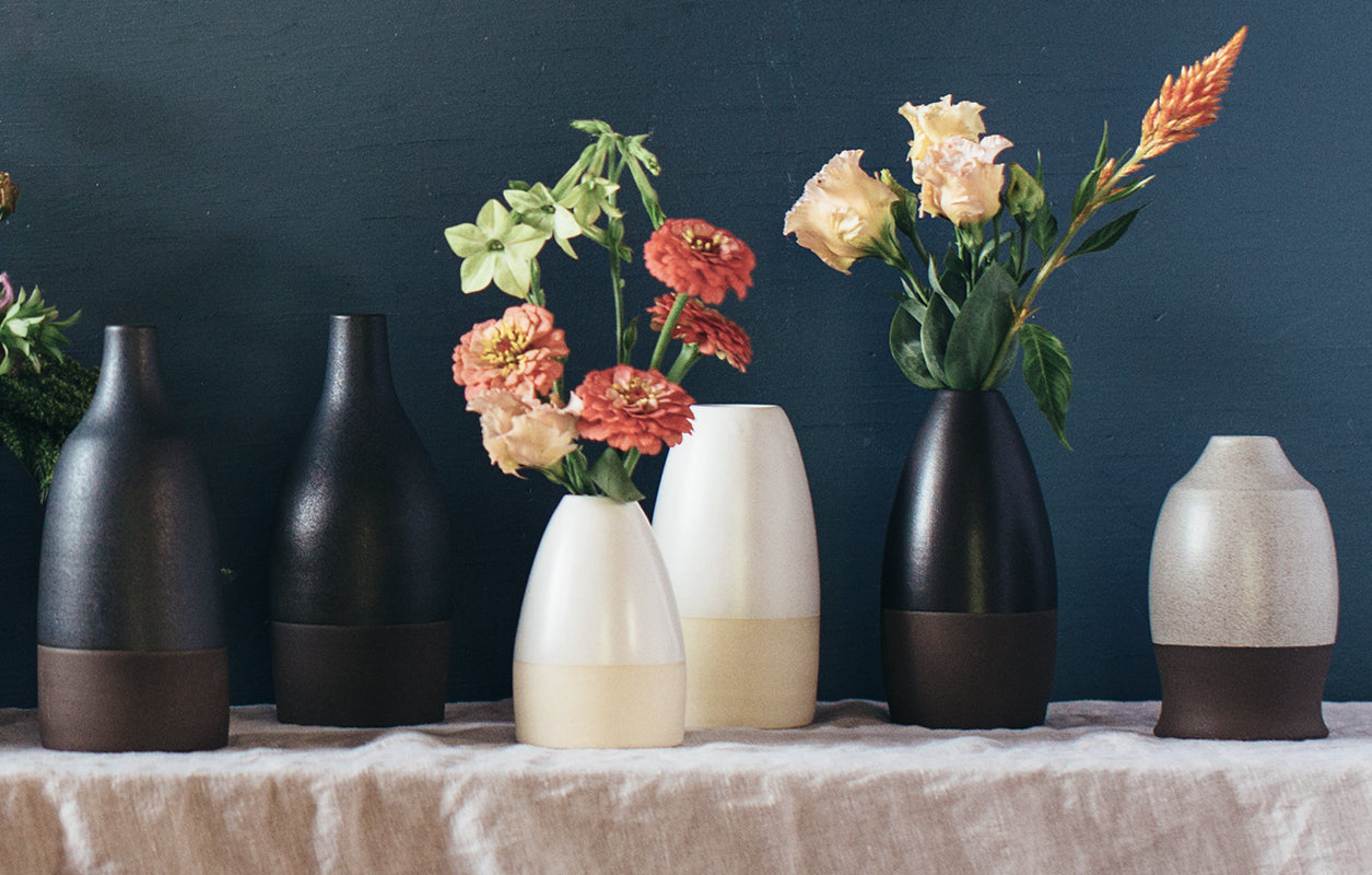 The Good Supply in Pemaquid Maine Vermont Ceramic Artist Natania Hume of Slow Studio Two-Tone Brown Bud Vase Made in USA