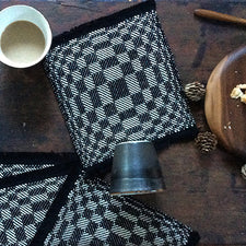 Maine Maker Blue Feet Studio Handwoven Op-Art Cocktail Napkins