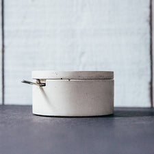 Maine Maker Concrete Culinarium Modern Cast Salt Cellar with Spoon